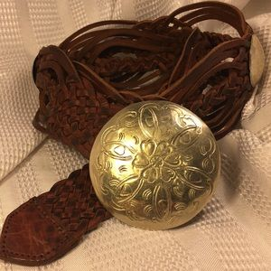 Leather macrame and silver buckle belt boho style